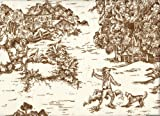 Close to Custom Linens Tailored Bedskirt in French Country Suede Brown Toile (22' Drop, Full)