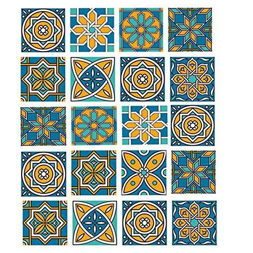 HPiano 20 stück Fliesenaufkleber,klebefliesen Boden, Verschiedene Mosaik wandfliesen Aufkleber für 15x15cm Fliesen Deko-Fliesenfolie für Küche u Bad