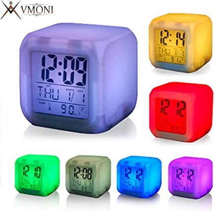 VMONI Digital Alarm Clocks for Bedroom, Students with 7 Color Changing LED | Digital Alarm Clock with Date, Time, Temperature for Office and Bedroom