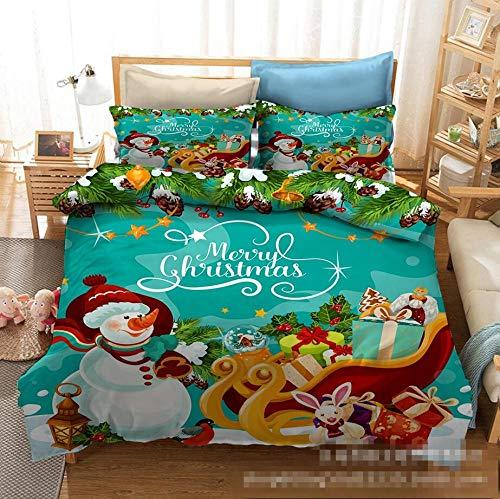 BLTMIT Duvet cover set 3d quilt bedding set poly cotton new Snowman sleigh EU Sing:135 * 200cm*1,Pillowcase:50 * 75cm*1