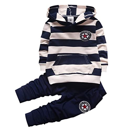 33e85da60c07 Shiningup Baby Tracksuit Boys Clothing Set Outfit Long Sleeve Hooded  Striped T-Shirt and Pants