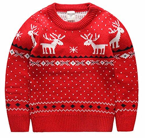 MULLSAN Children's Fireplace Lovely Sweater for Christmas Best Gift (3T, Red2)