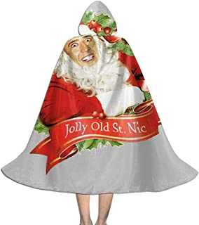 Nicolas Cage Christmas Jolly Old Saint NIC Unisex Kids Hooded Cloak Cape Halloween Xmas Party Decoration Role Cosplay Costumes Black