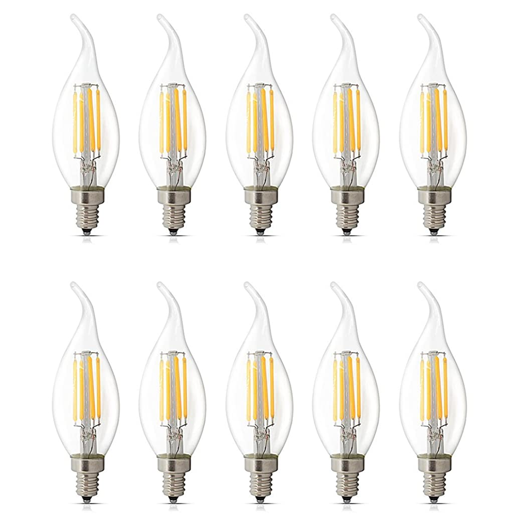 10 Pack E12 LED Dimmable 4W Warm White 2700K, C35 Bent Tip Flame Shape, Vintage Led Chandelier Light Bulbs, 40w Candelabra Halogen Bulb, LED Candle Filament Bulb Light