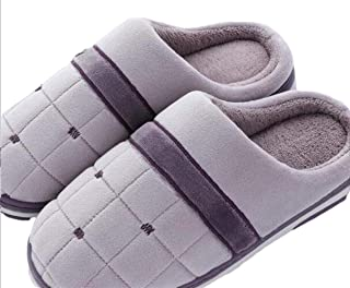 Ms Household Thick Bottom Warm Large Size Non-Slip Household Soft Bottom Male Wear-Resistant Cotton Slippers Warmer Soft Plush Home Shoes (Color : Purple, Size : 38-39)