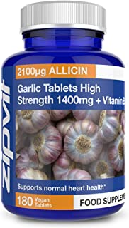 Garlic Tablets 1400mg, 2100mcg Allicin per Tablet with Added Vitamin B1. Supports Heart Health. 180 Vegan Tablets. 6 Months Supply.