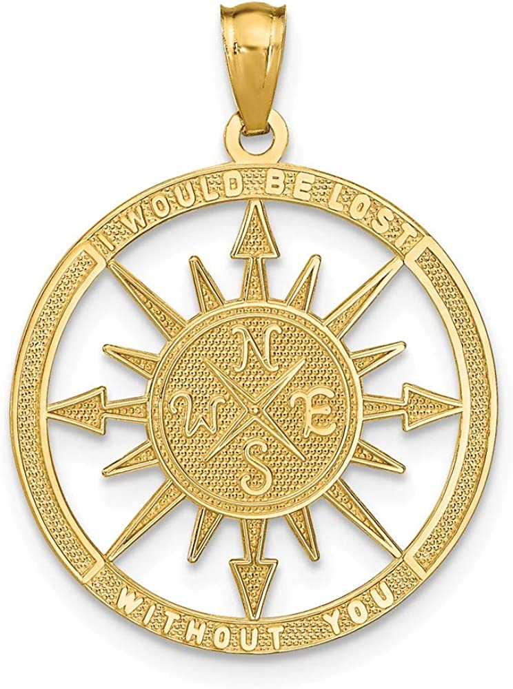 14k Yellow Gold/Lost Without You Compass Pendant Charm Necklace Seashore Boating Fine Jewelry For Women Gifts For Her