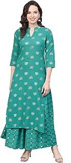 Meera Fab Women's Cotton Gold Printed Kurta with Skirt