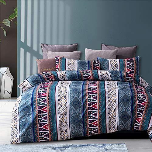 YULUOSHA Juego de ropa de cama reversible, 100% poliéster, con 2 piezas, funda de edredón de estilo bohemio a rayas, 200 x 200 cm