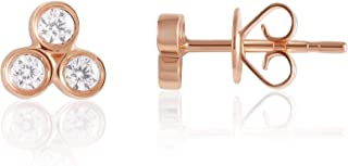 14KT Gold and Diamond Pave Stud Earrings - Choice of Heart, Round, Oval, Triangle and Moon Shapes