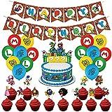 Mario Party Supplies, Decoración temática de Mario, Banner de feliz cumpleaños, globos de cumpleaños de Mario Bros y adornos para cupcakes, kit de decoración de fiesta de Mario