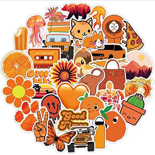 WYDML Naranja Graffiti impermeable Skateboard maleta de viaje teléfono portátil equipaje pegatinas lindos niños niña juguetes 50 piezas