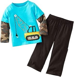 Hooyi Boys Long Sleeve Crane T-Shirts Set Camo Shirt Pant Toddler Clothes Set
