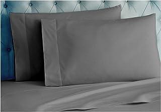 Tissaj Standard Size Pillow Covers - 2 Cases Set - Smoke Gray Color - 100% GOTS Certified Organic Cotton - 300 TC Thread C...