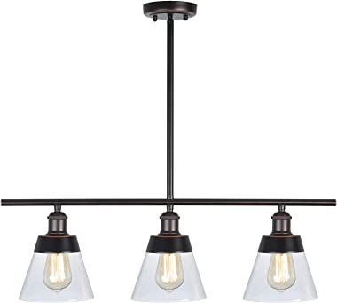 Rustic Glass Kitchen Island Lighting, Clear Seeded Glass Linear Chandelier, 3 Lights Adjustable Rod Industrial Pendant Light Fixture for Kitchen Island Dining Room Farmhouse, Oil Rubbed Bronze