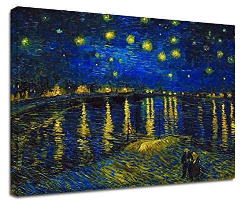GRAFIC Cuadro Van Gogh Noche Estrellada en el Ródano - Van Gogh Starry Night on Rodano Marco Lienzo (Cuadro con Marco DE Madera, CM 90X69)