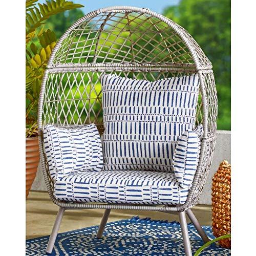 Boho Stationary Egg Patio Kids Lounge Chair with Cushions Wicker Rattan Basket Chair Deep-Seated...