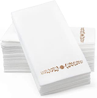 "Gold Foil Stamped Airlaid Paper Dinner Napkins – 1/6 Fold 12""x17"" Disposable Guest Hand Towels - Absorbent, Linen-Like Fee..."