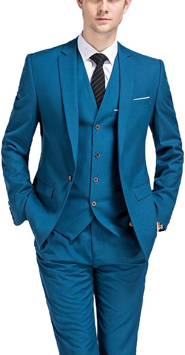 Men's Slim Fit Formal 3-Piece Solid Mens Suits Business Shawl Lapel One Button Blazer Pants Tuxedos