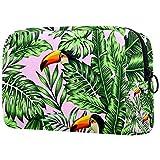 Bolsa de maquillaje personalizable, portátil, para mujer, bolso de mano, organizador de viaje, organizador de cosméticos, verde selva, palma, hojas de monstera
