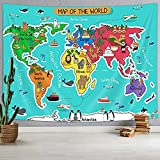 Cartoon World Map Tapestry Wanderlust, Cartoon Animal Mountains Forests World Map for Children and Kids Tapestry Wall Hanging, Wall Blankets Home Decor Beach Towel TV Background Panels 60X40 In