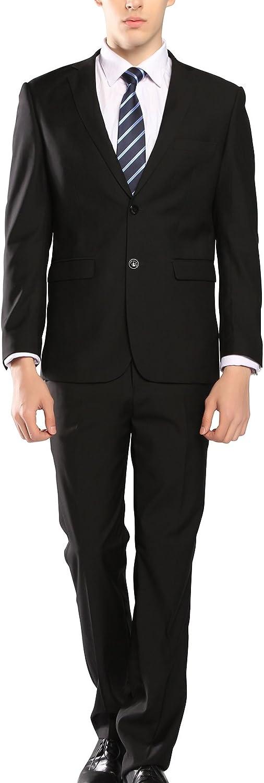 5dcf05275d1 MOGU MOGU MOGU Mens Black Business Dress Suit Two Piece Casual Slim Fit  Suit (Pants Unhemmed) 164b63