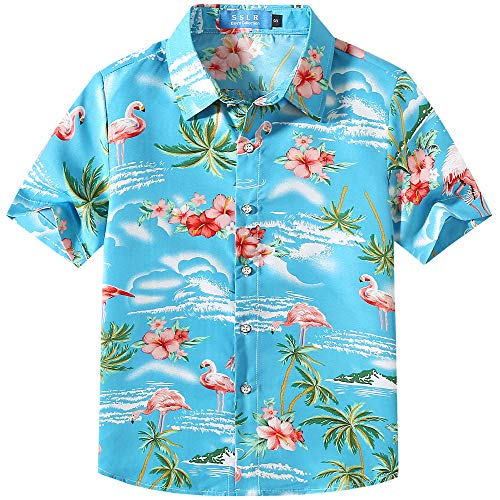 SSLR Camisa Manga Corta con Estampado de Flamencos y Flores Estilo Hawaiana para Niño (Medium, Azul Cielo)