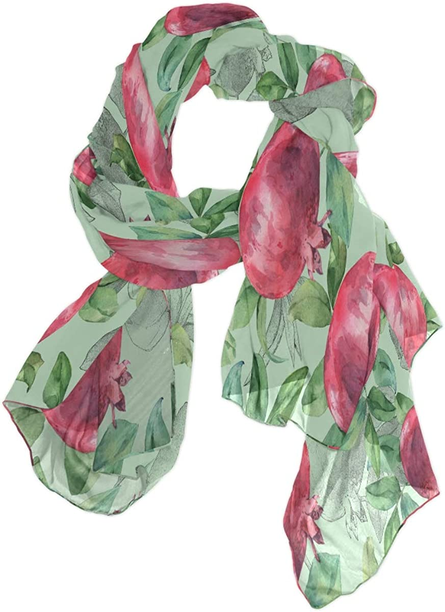 Scarfs for Women Hand Painted Pomegranate Fruit Pattern Silk Scarfs Fashion Hair Head Lightweight Shawl Wraps Large Scarves Ladies Girls Gifts for Spring Summer