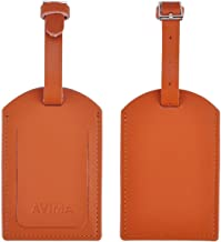 Leather Luggage Tag by AVIMA | Bag Tags Suitcase Tags Identifiers Travel Tags 2pc - Brown