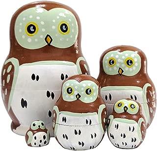 Set of 5 Cutie Cute Lovely Cartoon Mini Wise Smart Owl Animal Nesting Dolls Matryoshka Russian Doll Popular Handmade Kids Girl Holiday Novelty Toy