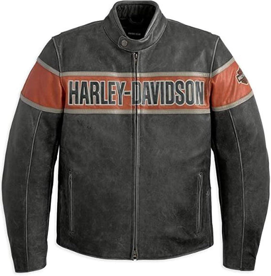 Fashionly Men's Victory Lane Bikers Style Genuine Pigskin Leather Motorbike Cracker Biker Jacket