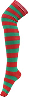 Women's Extra Long Striped Socks Over Knee High Opaque Stockings