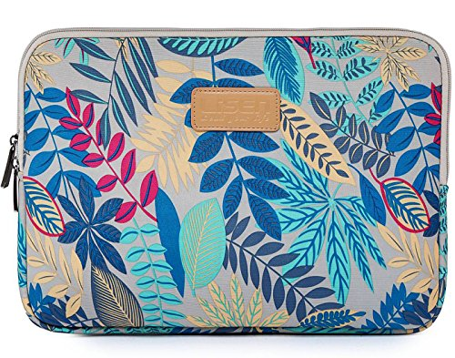 BSLVWG 10-15 inch Forest Series Pattern Water-resistant Canvas laptop sleeve for 13.3 inch laptop case macbook air 13 case macbook pro 13 sleeve ipad 12.9 (14 inch, Gray Colorful Leaves)