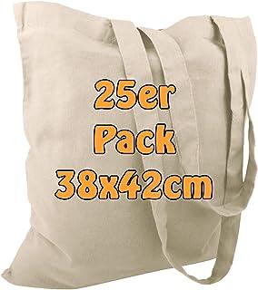 Cottonbagjoe Baumwolltaschen | 38x42 cm | unbedruckt | mit zwei langen Henkeln | bemalbar | Öktex 100 zertifiziert | Juteb...