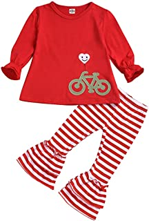 Toddler Baby Girls Christmas Costume Long Sleeve Ruffle Tops+Striped Bell-Bottoms Pants Set