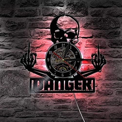 KDBWYC Reloj de Pared con Disco de Vinilo con Calavera de Dedo Medio, decoración del hogar Punk, Reloj de Pared con iluminación LED de diseño Moderno, Negro