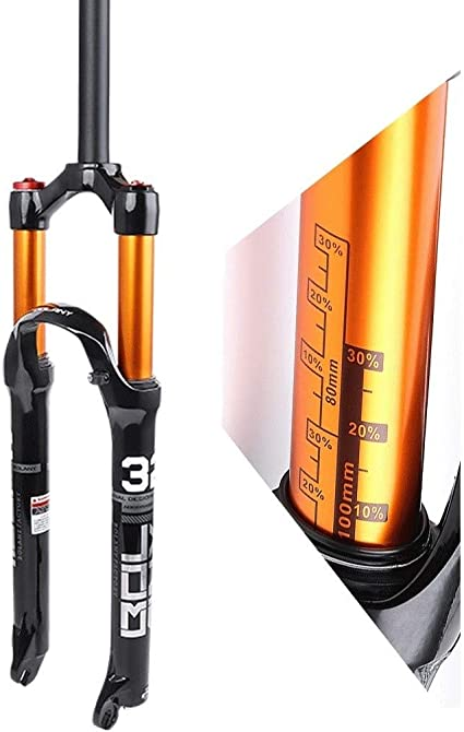 GONGMICF Mountainbike Fahrradgabel 26 27.5,Federgabel Air Fork,Schulterkontrolle Straight Tube,Ultraleichte Aluminium-Magnesium-Legierung Scheibenbremse Federweg 100mm Gr/ün Orange