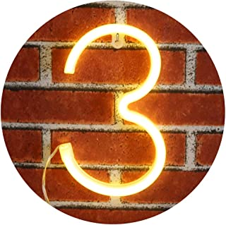 Neon Number Sign Wall Decorative Neon Lights Warm White Alphabet Letter Lights Night Lamp for House Bar Pub Hotel Beach Recreational, Kids Room, Living Room, Birthday Wedding Party Decor - 3 (Three)