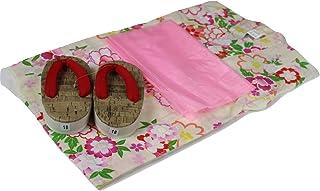 浴衣セット 女の子 ゆかた(桜?雪輪)黄色(紅梅織り) 3点セット KWG-6 100/110/120cm