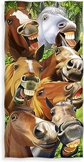 Dawhud Direct Horses Selfie Cotton Beach Towel