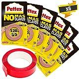 HENKEL - Set Cinta Doble Cara Pattex No Más Clavos 1.5m Henkel Kabra (6 rollos adhesivo doble cara)