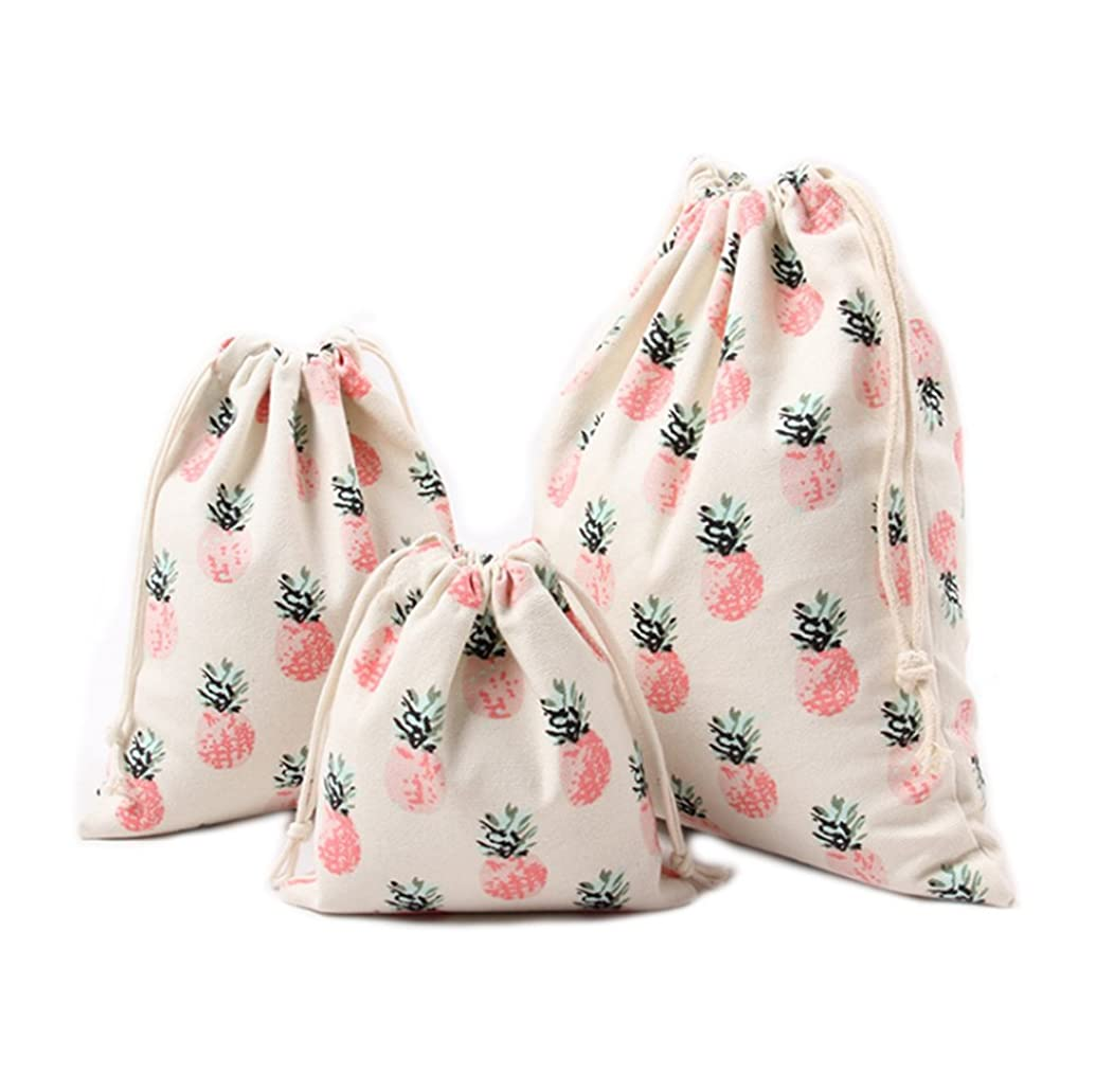 Riverer Gift Bags with Drawstring, Packing Storage Linen Jewelry Pouches Sacks for Wedding Party 12 pcs Pineapple Pattern, 5.5x6.3 Inches