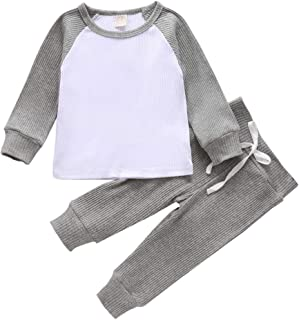 YOUNGER TREE Infant Toddler Baby Boy Girl Fall Outfit 2pcs Knitted Cotton Clothes Long Sleeve Sweatshirt Pants Sets