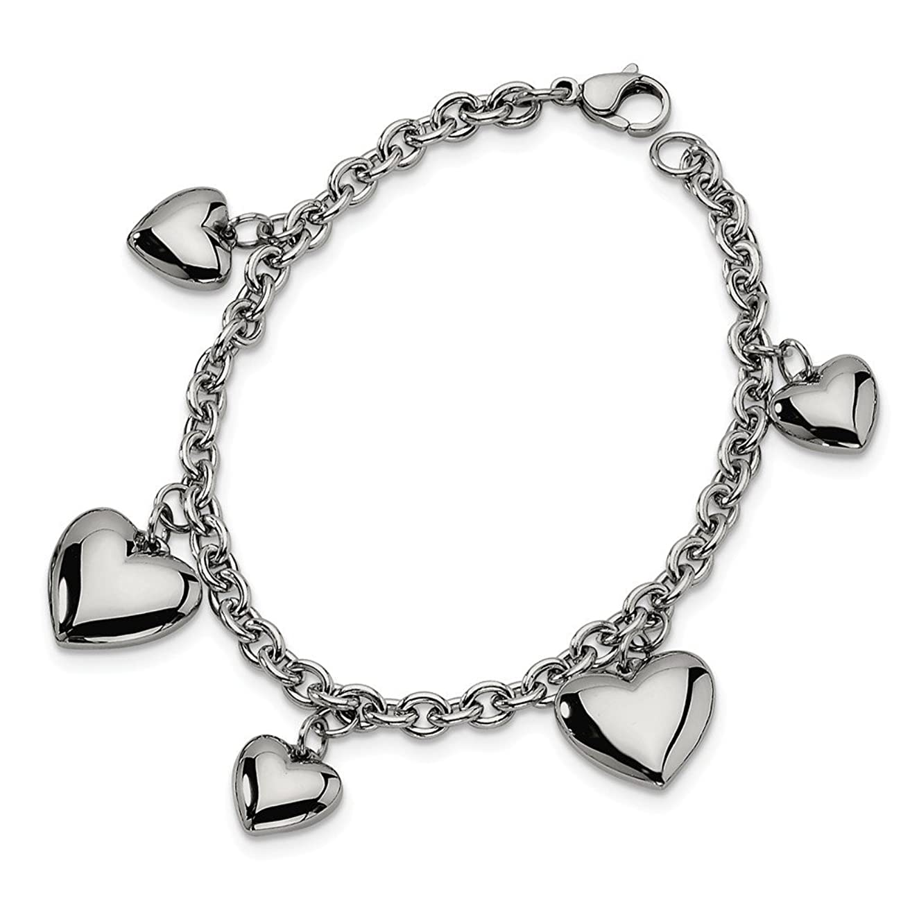 ICE CARATS Stainless Steel Hearts 8 Inch Bracelet/Love Fashion Jewelry Gifts for Women for Her