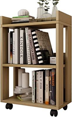 Bookshelf Feifei Minimalist Modern Wooden Bookcase Landing Creative Child Simple Pulley Movable 45 24 67CM