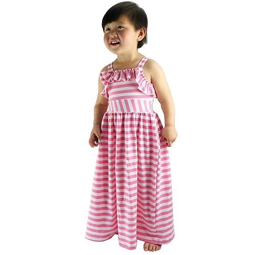 0225312f905 Wennikids Beach Dress Maxi Dresses Girls Striped Long Summer Dress