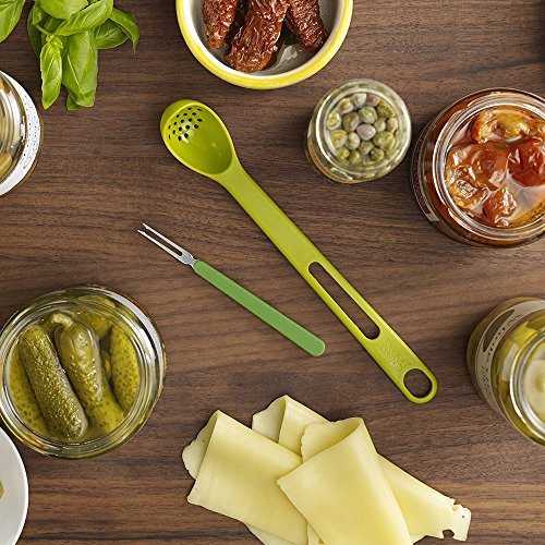 2-piece Plastic Colander Spoon w/ Steel Fork - Prefect for Olives, Pickles, or Fruit!