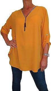 icecoolfashion Georgette da Donna Tunica Oversize con Zip Dettagliata 42-48