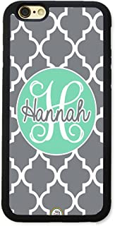iPhone 6S Case, iPhone 6 Case, ArtsyCase Mint Grey Trellis Monogram Personalized Name Phone Case for iPhone 6 and iPhone 6S (Black)