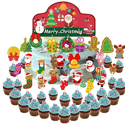 Natale cupcake toppers,Natale Tema Party Cake Toppers,Torta Topper di Natale Festa,Natale Cupcake Toppers Decorazioni,Natalizi cake Toppers,Natale Cupcake Decorazione,Bigné Toppers Natale (D)
